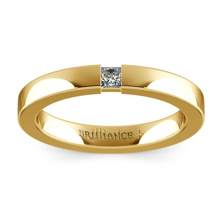 Flat Promise Ring with Princess Diamond in Yellow Gold (2.9mm) | 02