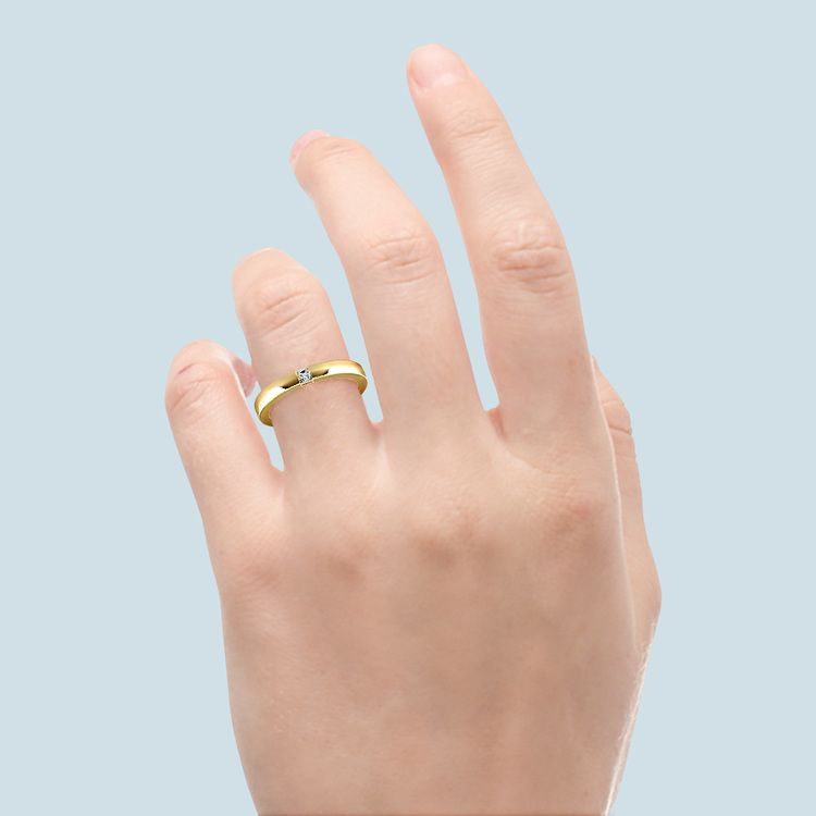 Flat Promise Ring with Princess Diamond in Yellow Gold (2.9mm) | 06