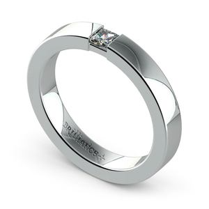 Flat Promise Ring with Princess Diamond in White Gold (3.4mm)
