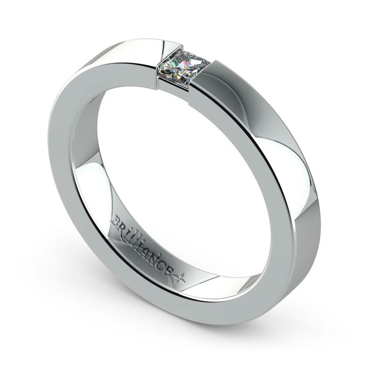 Flat Promise Ring with Princess Diamond in White Gold (3.4mm) | 01
