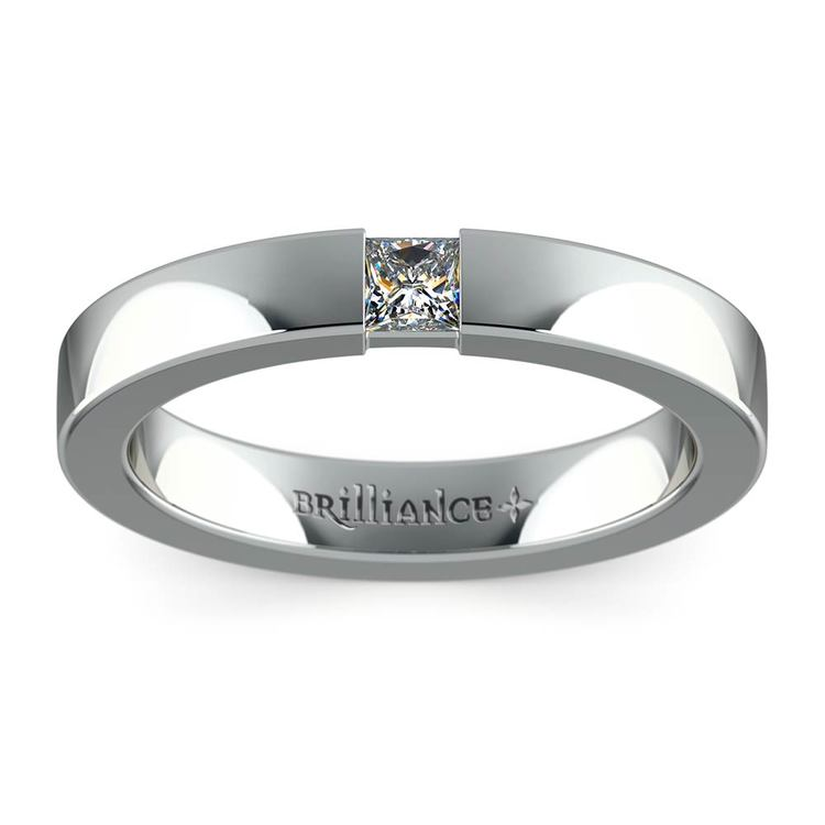 Flat Promise Ring with Princess Diamond in White Gold (3.4mm) | 02