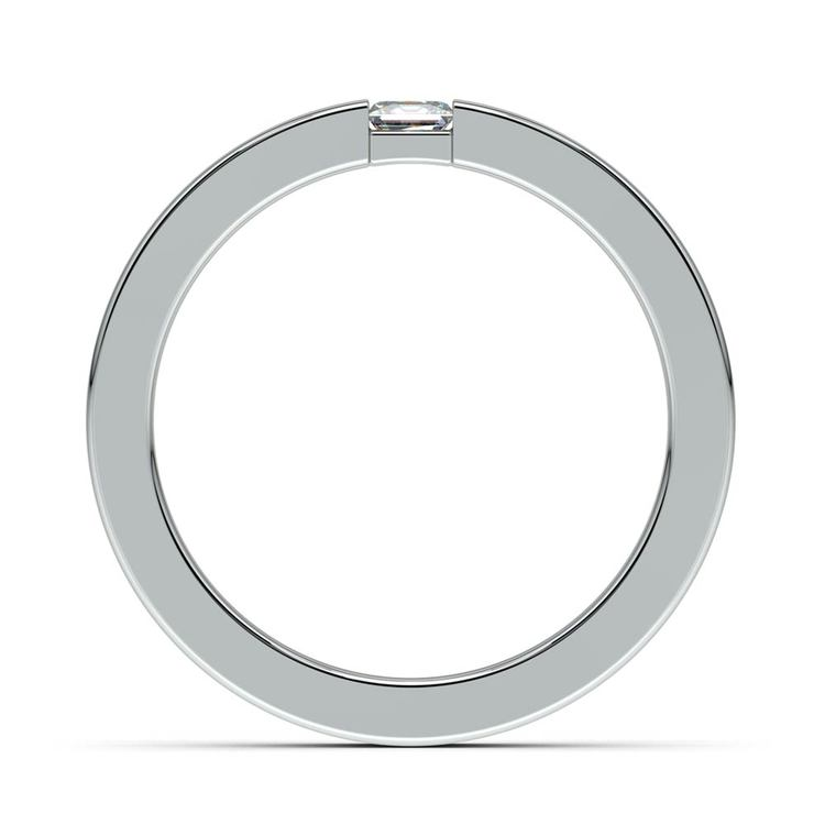 Flat Promise Ring with Princess Diamond in White Gold (3.4mm) | 03