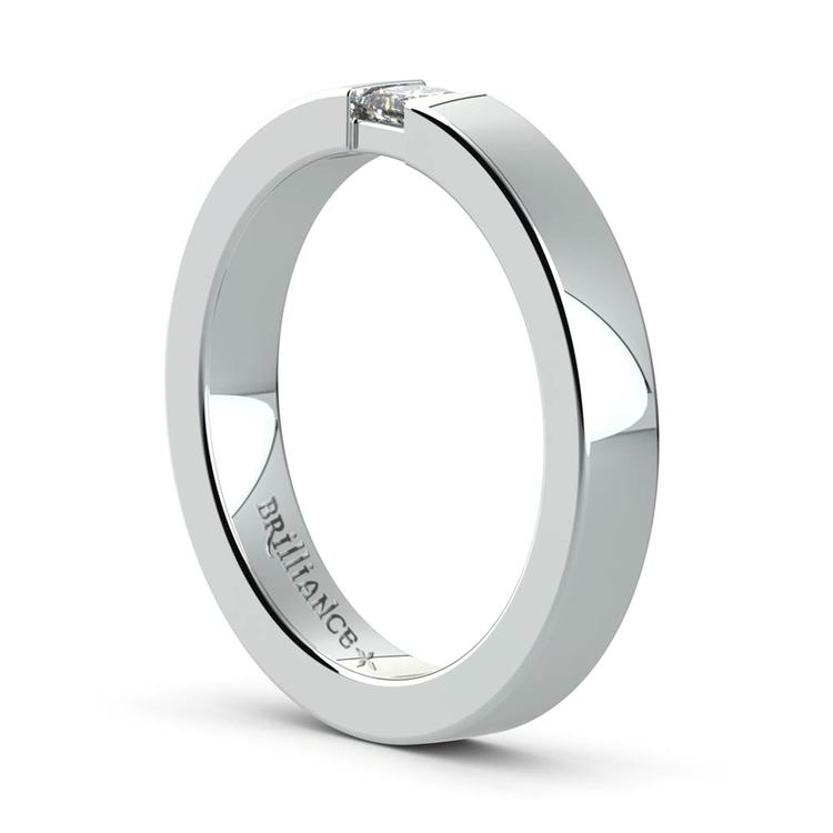Flat Promise Ring with Princess Diamond in White Gold (3.4mm) | 04