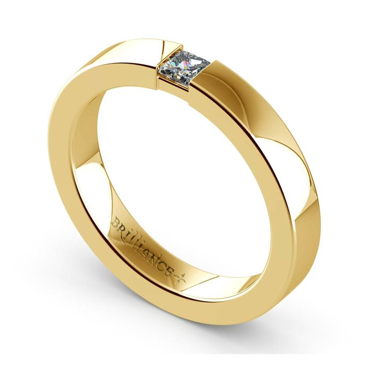 Flat Promise Ring with Princess Diamond in Yellow Gold (3.4mm) | 01