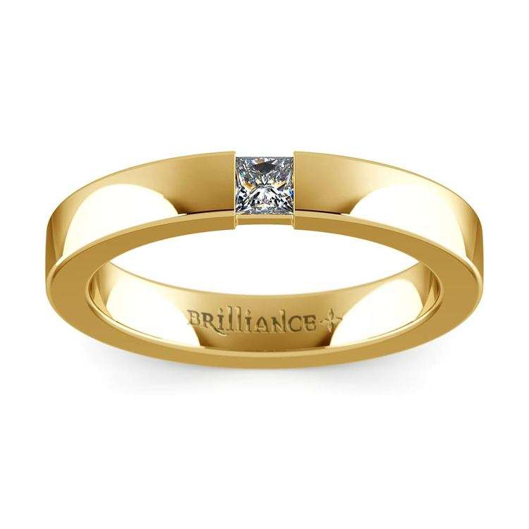 Flat Promise Ring with Princess Diamond in Yellow Gold (3.4mm) | 02