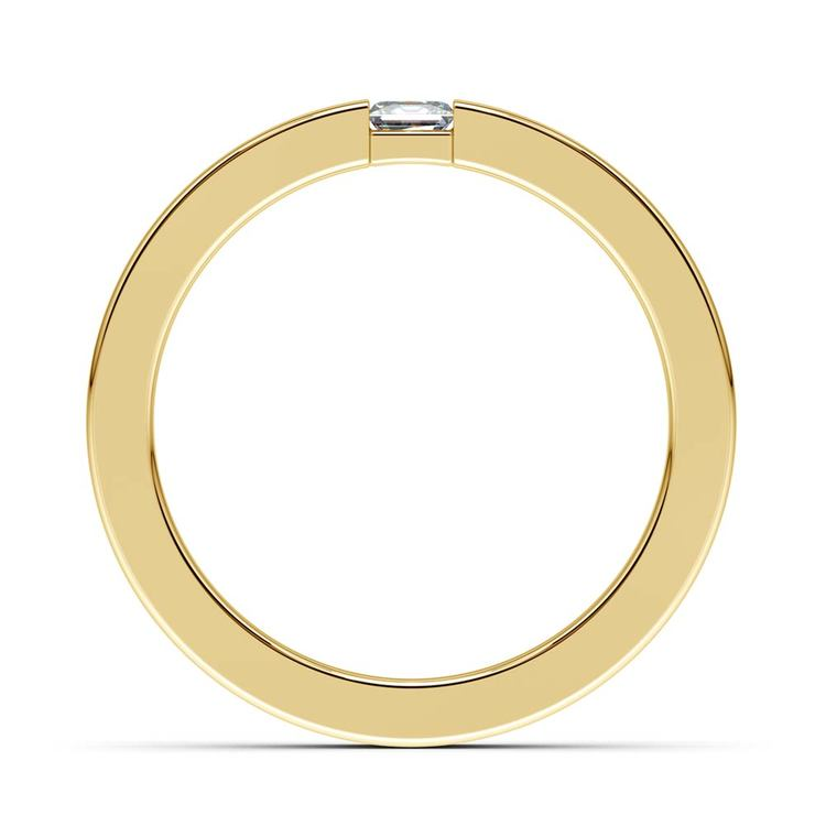 Flat Promise Ring with Princess Diamond in Yellow Gold (3.4mm) | 03