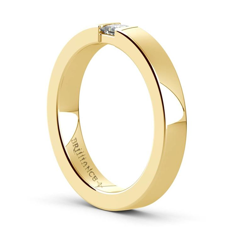 Flat Promise Ring with Princess Diamond in Yellow Gold (3.4mm) | 04