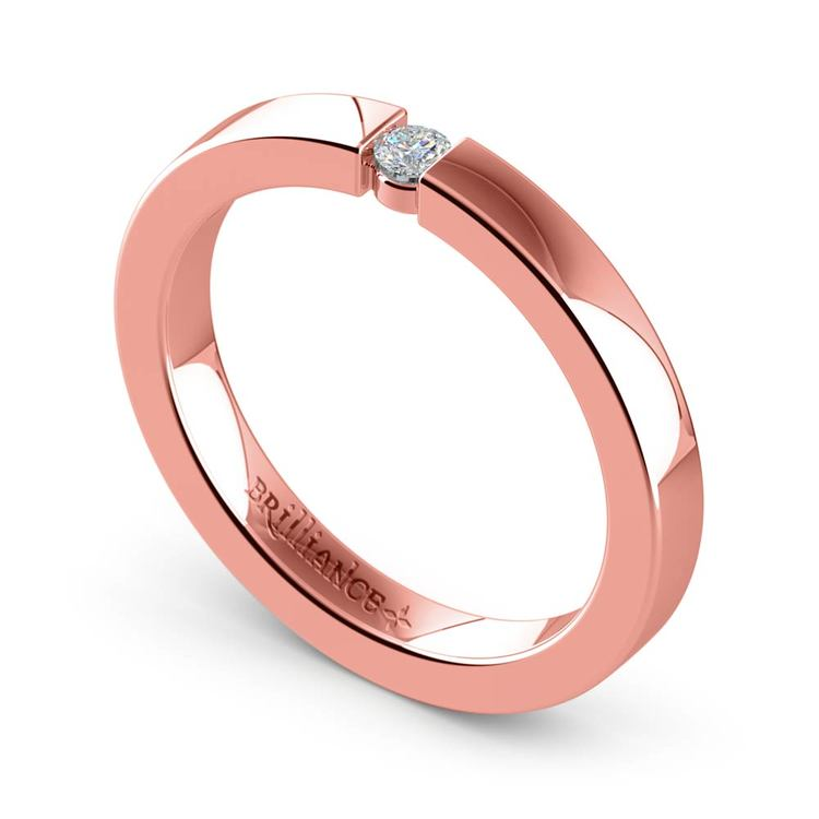Flat Promise Ring with Round Diamond in Rose Gold (2.75mm) | 01