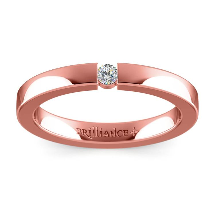 Flat Promise Ring with Round Diamond in Rose Gold (2.75mm) | 02