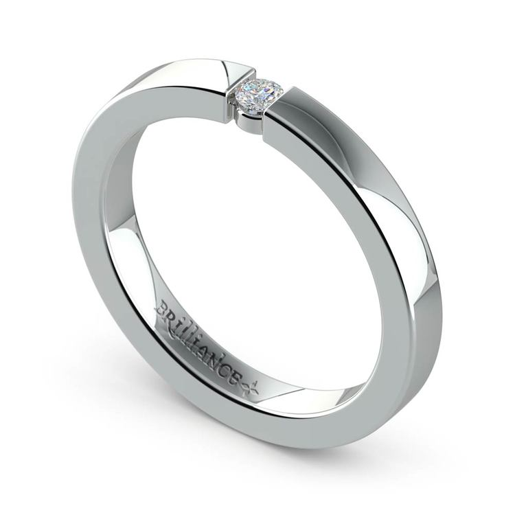 Flat Promise Ring with Round Diamond in White Gold (2.75mm) | 01