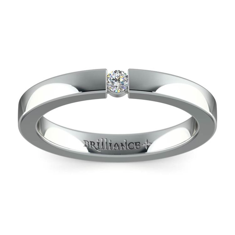 Flat Promise Ring with Round Diamond in White Gold (2.75mm) | 02