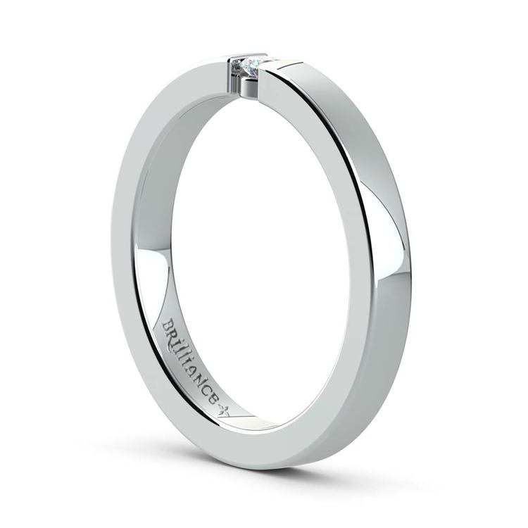 Flat Promise Ring with Round Diamond in White Gold (2.75mm) | 04