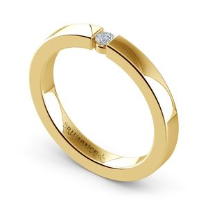 Flat Promise Ring with Round Diamond in Yellow Gold (2.75mm)