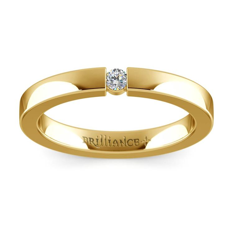Flat Promise Ring with Round Diamond in Yellow Gold (2.75mm) | 02