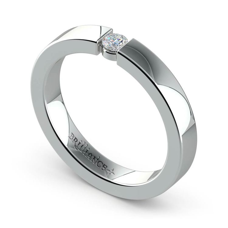 Flat Promise Ring with Round Diamond in White Gold (3.25mm) | 01