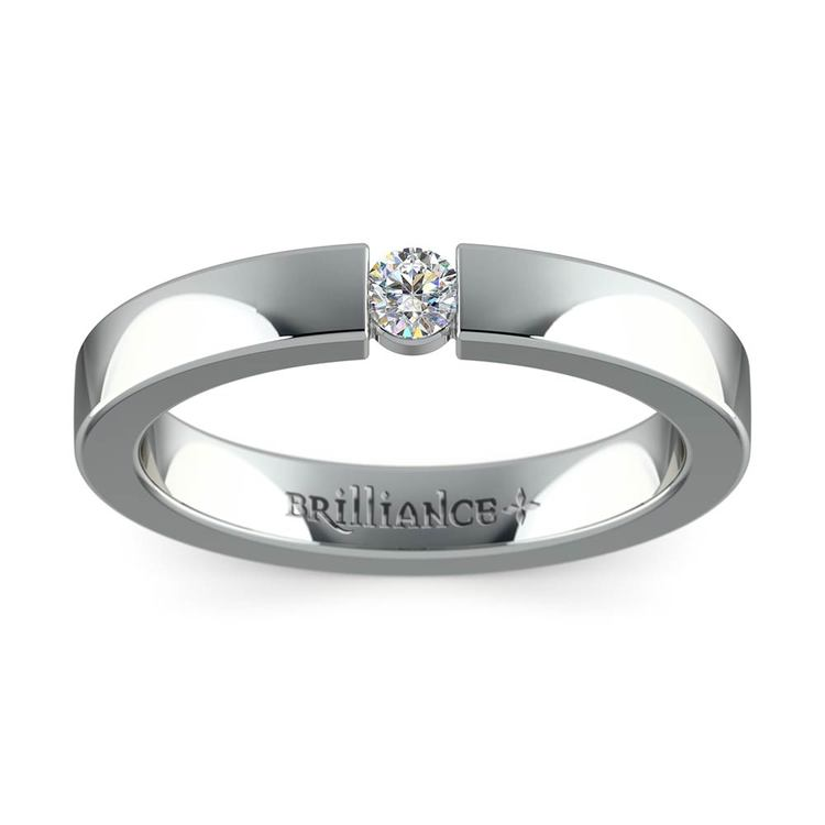 Flat Promise Ring with Round Diamond in White Gold (3.25mm) | 02