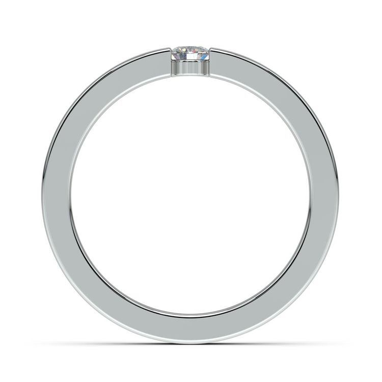 Flat Promise Ring with Round Diamond in White Gold (3.25mm) | 03