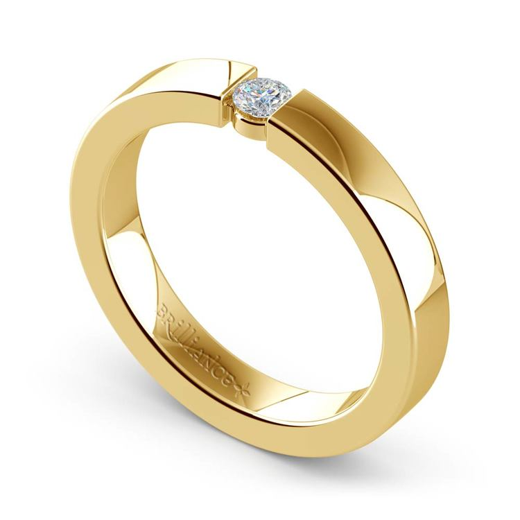 Flat Promise Ring with Round Diamond in Yellow Gold (3.25mm) | 01