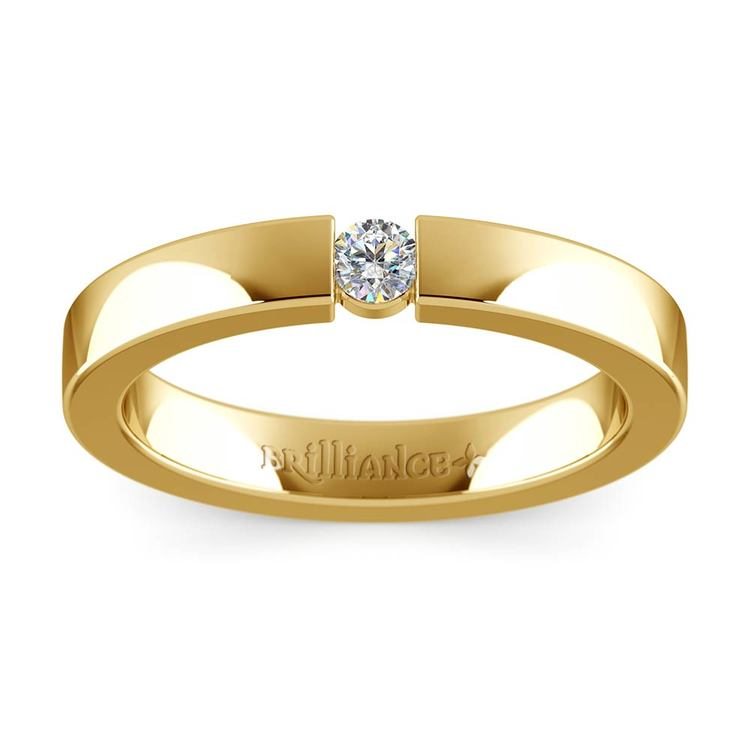 Flat Promise Ring with Round Diamond in Yellow Gold (3.25mm) | 02