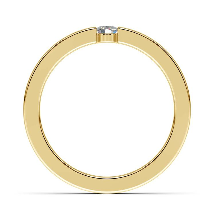 Flat Promise Ring with Round Diamond in Yellow Gold (3.25mm) | 03