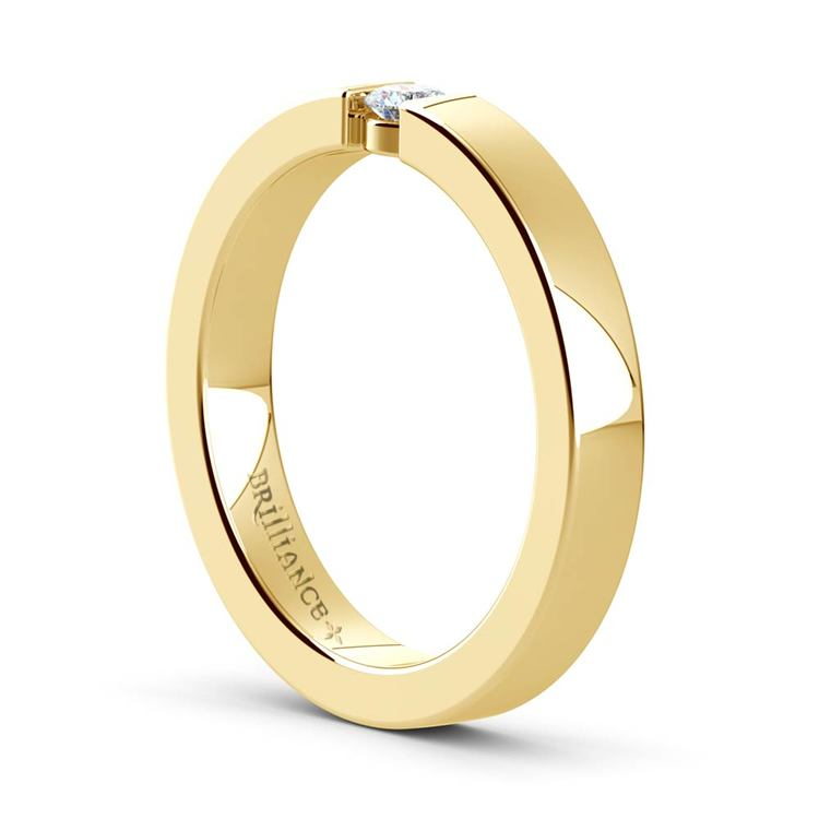 Flat Promise Ring with Round Diamond in Yellow Gold (3.25mm) | 04