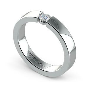 Flat Promise Ring with Round Diamond in Platinum (3.75mm)