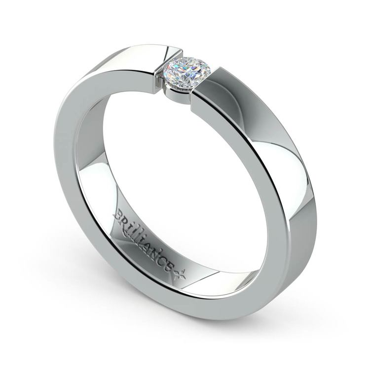 Flat Promise Ring with Round Diamond in White Gold (3.75mm) | 01