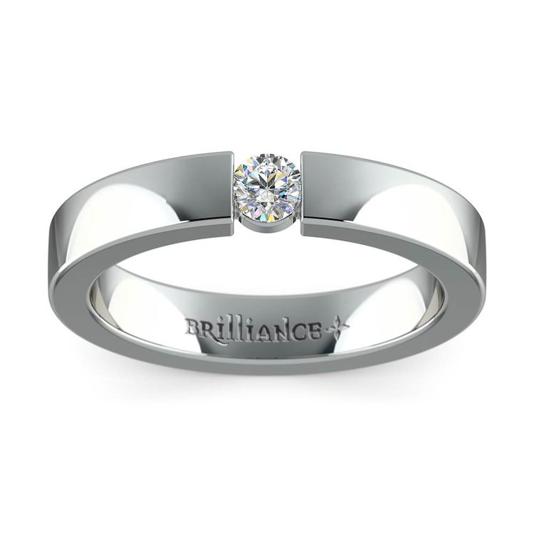 Flat Promise Ring with Round Diamond in White Gold (3.75mm) | 02