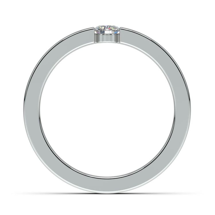 Flat Promise Ring with Round Diamond in White Gold (3.75mm) | 03