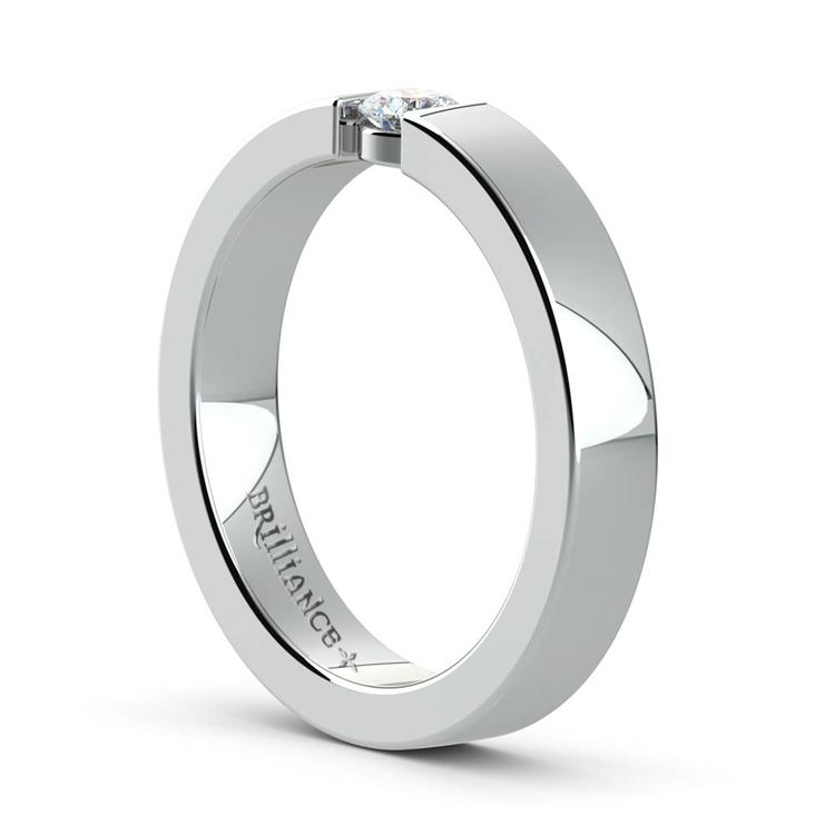 Flat Promise Ring with Round Diamond in White Gold (3.75mm) | 04