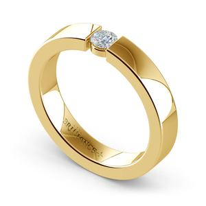 Flat Promise Ring with Round Diamond in Yellow Gold (3.75mm)