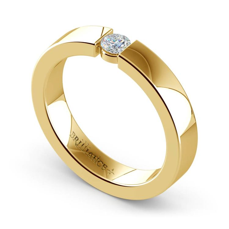 Flat Promise Ring with Round Diamond in Yellow Gold (3.75mm) | 01