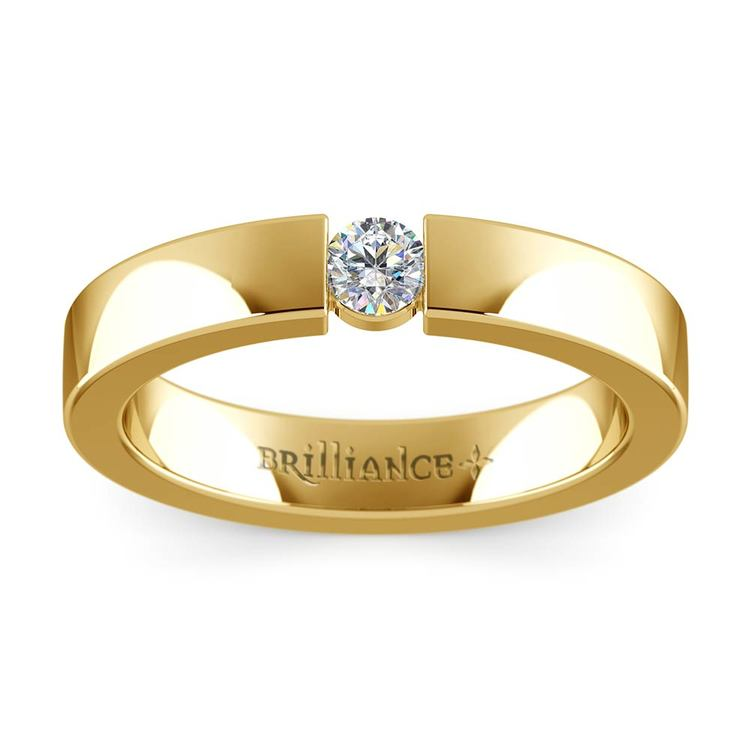 Flat Promise Ring with Round Diamond in Yellow Gold (3.75mm) | 02