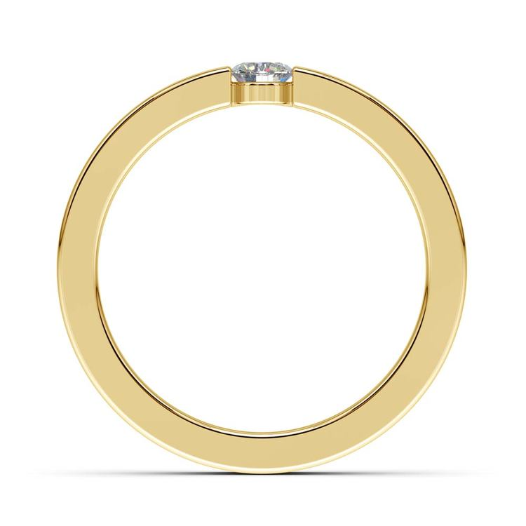 Flat Promise Ring with Round Diamond in Yellow Gold (3.75mm) | 03