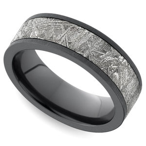 Eclipse - Satin Zirconium Mens Ring with Meteorite Inlay