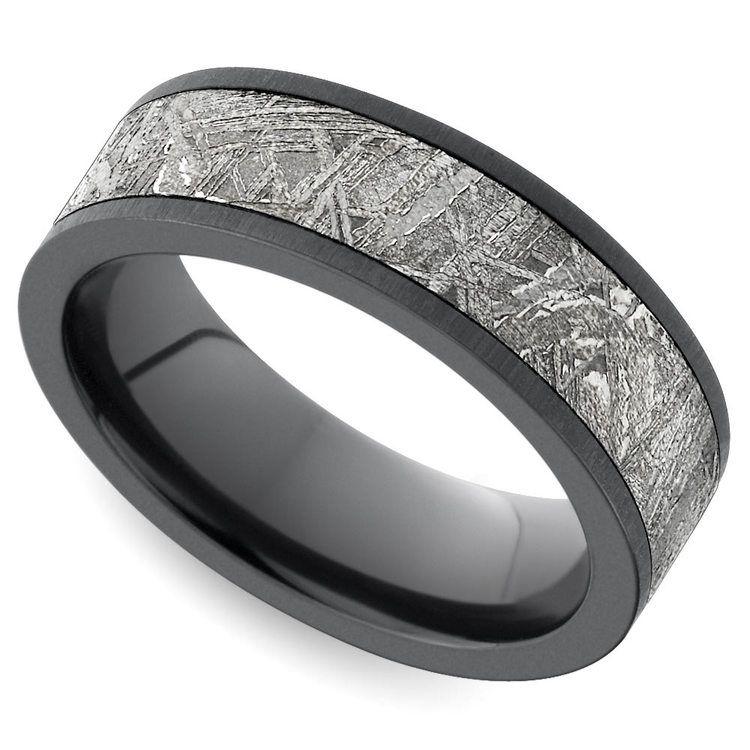 Flat Satin Men\'s Wedding Ring with Meteorite Inlay in Zirconium