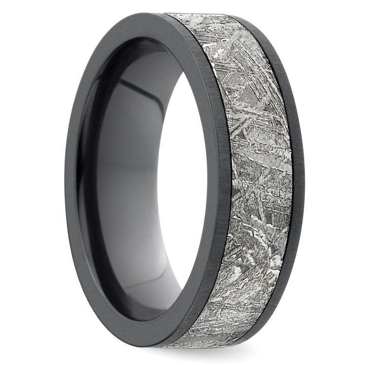 Eclipse - Satin Zirconium Mens Ring with Meteorite Inlay | 02