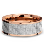 Flat Silver Carbon Fiber Inlay Men's Wedding Ring in 14K Rose Gold | Thumbnail 03