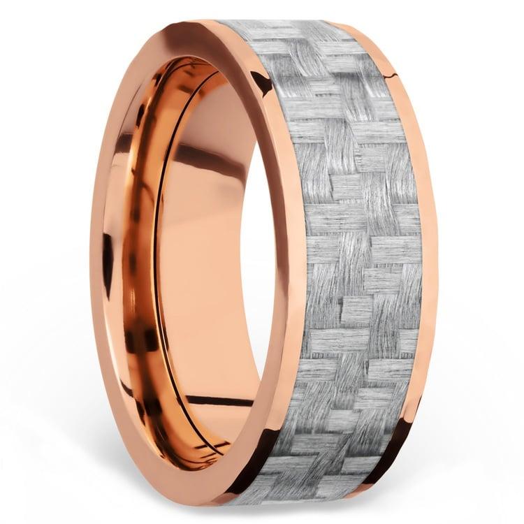 Flat Silver Carbon Fiber Inlay Men's Wedding Ring in 14K Rose Gold | 02