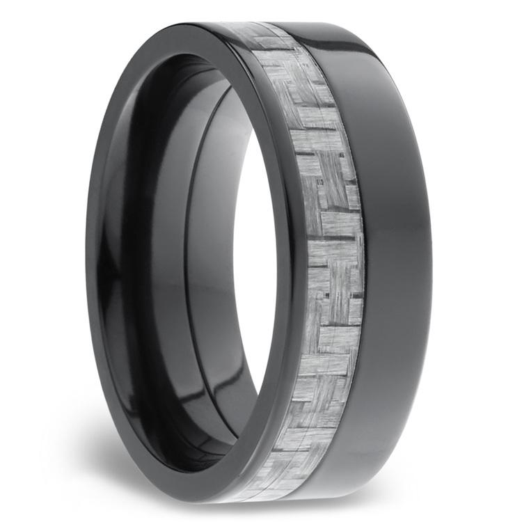 Flat Silver Carbon Fiber Inlay Men's Wedding Ring in Zirconium | 02
