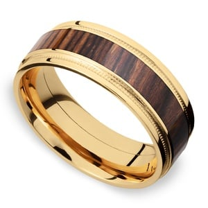 Wall Street - 18K Yellow Gold & Cocobolo Wood Mens Band