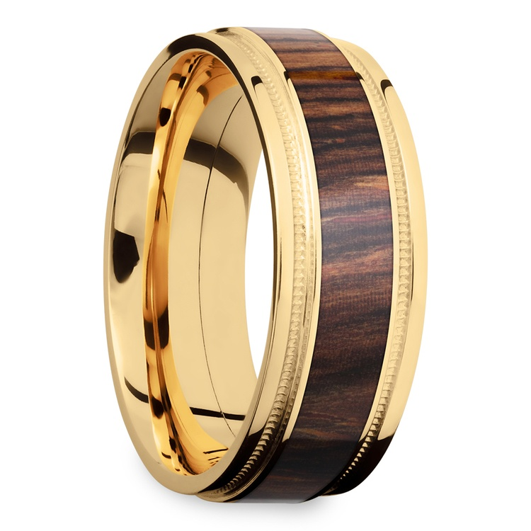 Wall Street - 18K Yellow Gold & Cocobolo Wood Mens Band | 02