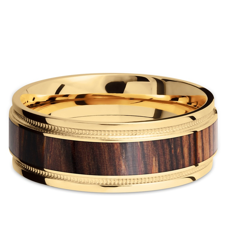 Wall Street - 18K Yellow Gold & Cocobolo Wood Mens Band | 03