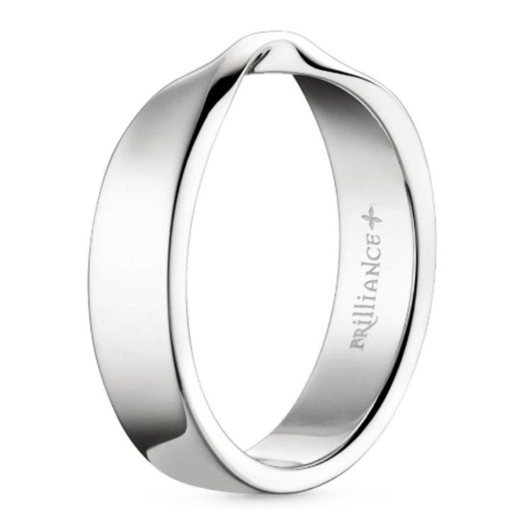 Twisted Platinum Wedding Band - Flat Design | 02