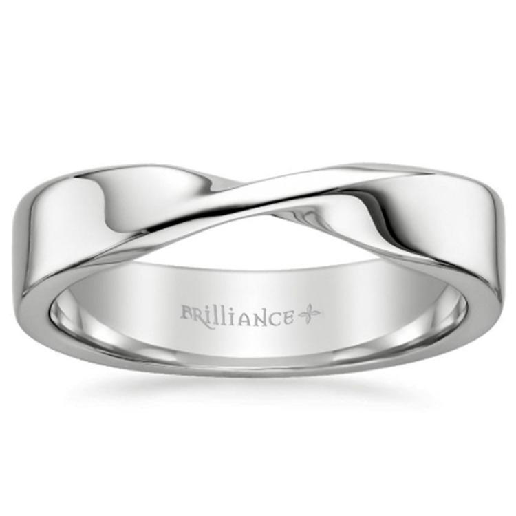 Twisted Platinum Wedding Band - Flat Design | 03