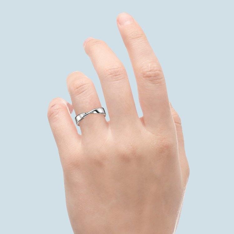 Twisted Platinum Wedding Band - Flat Design | 04