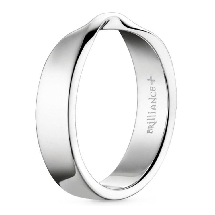 Twisted White Gold Wedding Band - Flat Design | 02