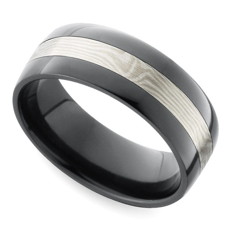 Flat Men's Wedding Ring with White Mokume Inlay in Zirconium | 01