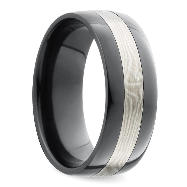 Flat Men's Wedding Ring with White Mokume Inlay in Zirconium | 02