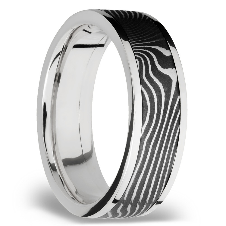 Flattwist Damascus Inlay Men's Wedding Ring in Cobalt Chrome | 02